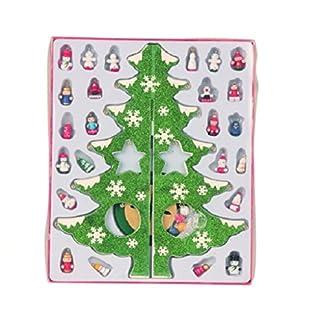 Groer-Glitzer-Steckbaum-Weihnachtsbaum-35-cm-und-24-Figuren-Holz-Baum-Weihnachten