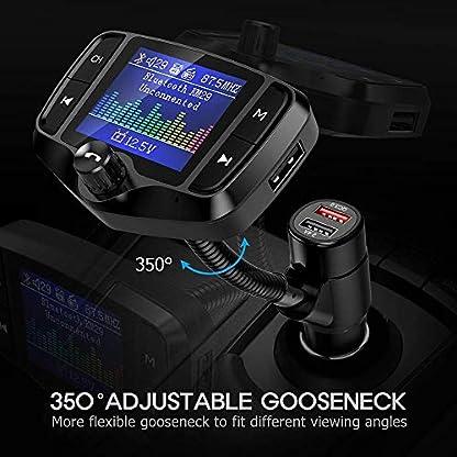 FM-Transmitter-NULAXY-18-Farbbildschirm-Transmitter-2019-NEU-WQC-30-untsttzt-Auto-Batterie-LesenHandsfrei-Anrufenuntersttzt-USBTF-Carte-Aux-EQ-ModeKM29