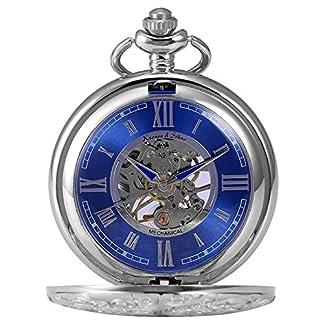KS-Taschenuhr-mit-Kette-Herren-Silber-Blau-Mechanisch-Skelett-Analog-Vintage-Geschenkbox-KSP071