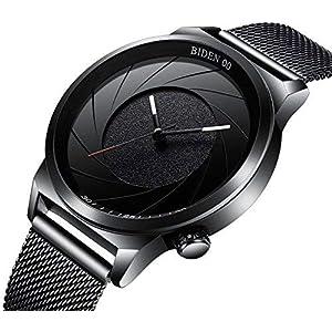 Uhren-Herren-Fashion-Armbanduhr-Business-Design-Sport-schlichtes-Schwarz-Analog-Quarz-mit-einzigartige-Spirale-Zifferblatt-und-Edelstahl-Mesh-Band