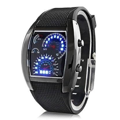Sportuhr-Quartz-Digitale-LED-Herren-Armbanduhr-mit-Gummi-Band-schwarz