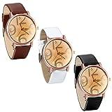 JewelryWe-Damen-Armbanduhr-Fashion-Einfach-Analog-Quarz-Uhr-Leder-Band-Quarzuhren-mit-groen-Zahlen-Zifferblatt-Farbe-Wei-Braun-Schwarz
