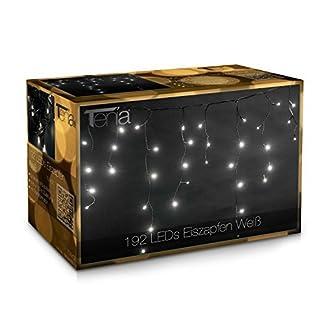 Tenia-192-LED-Lichterkette-Lichtervorhang-Eiszapfen-Eisregen-1020-cm-fr-Innen-und-Auen-Weihnachten-Wei-Kaltwei