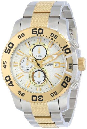 Akribos-XXIV-Herren-Eroberer-Chronograph-Wei-Zifferblatt-silberfarbenes-und-goldfarbene-Edelstahl-Armband-Armbanduhr
