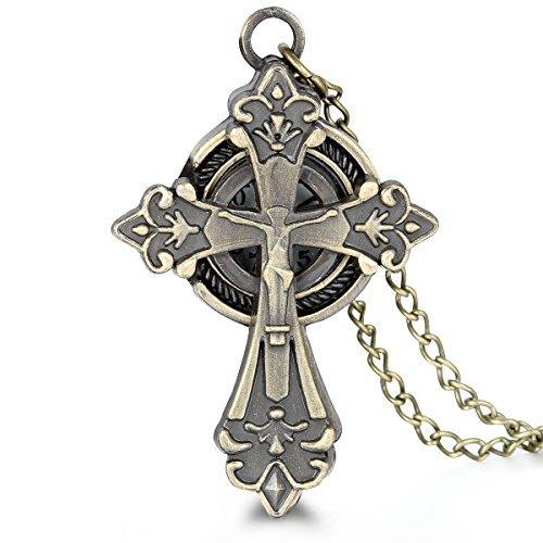 JewelryWe-Herren-Taschenuhr-Bronze-Farbe-Christ-Jesus-Kreuz-Uhranhnger-Quartzuhr-Legierung-Kettenuhr-Uhr-lange-Pullover-Halskette-80cm-Vatertag-Ostern-Geschenk
