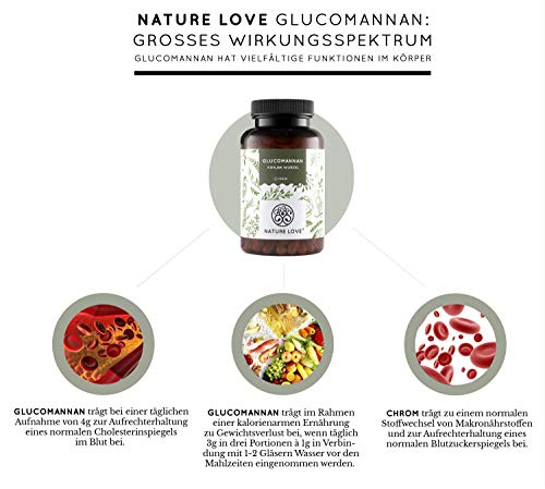 Abnehmen mit Glucomannan aus der Konjak Wurzel – von Nature Love – 120 Kapseln. 4000mg je Tagesdosis – Hochdosiert, vegan, hergestellt in Deutschland