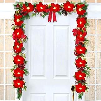 YQing-198cm-Poinsettia-Girlande-Weihnachten-Red-Poinsettia-LED-Girlande-mit-roten-Beeren-und-Stechpalmenblttern-Knstlich-Poinsettia-Girlande-Weihnachten-Deko-fr-Urlaub-Haustr-Dekoration