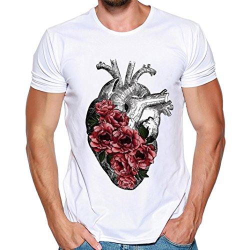 T-Shirt-Herren-HUIHUI-Coole-V-Ausschnitt-Kurzarm-Sweatshirt-Slim-Fit-Basic-UV-Polo-Shirt-Mode-Sport-Oberteile-Oversize-Bench-Tops-Herz-Drucken-Sommer-Freizeit-Hemd-Poloshirt