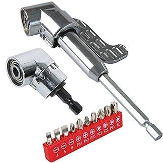 Laoyoung-Winkelschrauber-Vorsatz-Adapter-105-3-teilig-Set-langkurz-Winkelschraubervorsatz-mit-14-Zoll-Schnellwechsel-und-magnetischen-Bit-Halter-und-10-tlg-Schraubendreher-Set