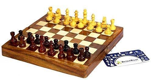 Exotisch-Hartholz-254cm-Faltreifen-Magnetisch-Reise-Schachspiel