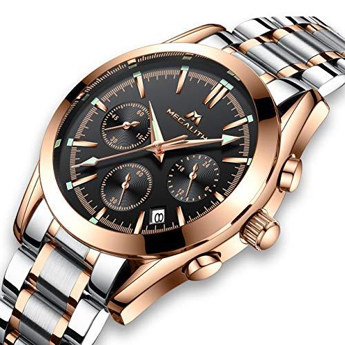 Herren-Uhren-Rose-Gold-Mnner-Chronograph-Wasserdicht-Luxus-Edelstahl-Leuchtende-Armbanduhr-Mann-Datum-Kalender-Design-Analoge-Quarz-Business-Uhr
