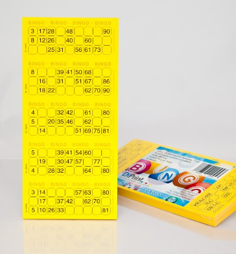 Bingo-Ticket-Block-System-15-aus-90-Kugeln-gelb