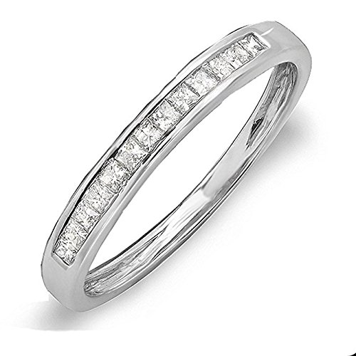 Damen Ring / Verlobungsring / Ehering Diamant 0.33 Karat 18 Karat Weißgold Princess Schnitt Diamant Ewigkeit Stapelbar Ring 1/3 Karat