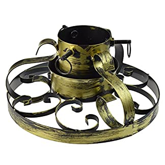 Weihnachtsbaumstnder-aus-Metall-handbemalt-klassisches-Design-Goldfarben