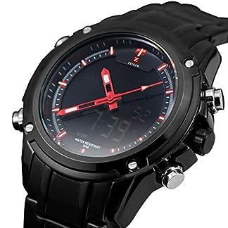 Herren-Uhren-Edelstahl-Armbanduhr-KZKR-Sport-Herren-Armbanduhr-Schwarz-Herrenuhr-edelstahlarmband-Silber-Analog-Digital-Chronograph-Alarm