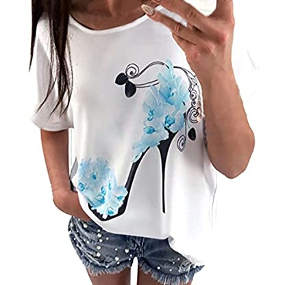 MERICAL-Frauen-Kurzarm-High-Heels-Printed-Tops-beilufige-Lose-Bluse-T-Shirt