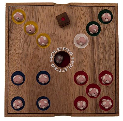 Pig-Hole-Schweinchenspiel-Wrfelspiel-Glcksspiel-Brettspiel-Gesellschaftsspiel-Holzspiel