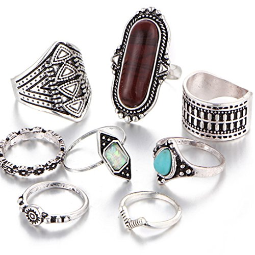 Elistelle 8 pcs Ring Set Damen Silber Gold Boho Ringe über Knöchel Finger Tip Ring Schmuck Set