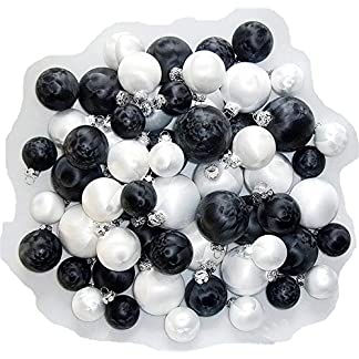Thringer-Glasdesign-Jack-59x-Eislack-Glas-Christbaumkugeln-Schwarz-Wei-4-5-6-7-cm-Weihnachtskugeln
