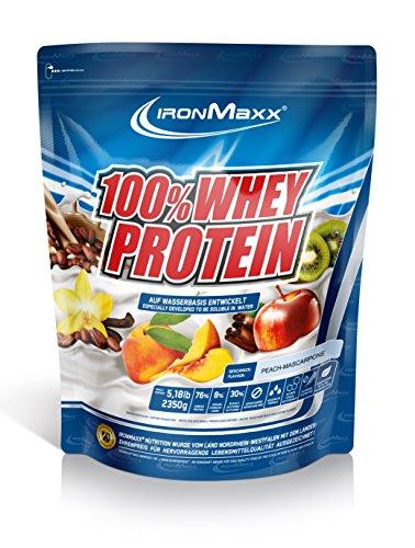 IronMaxx 100% Whey Protein / Eiweißpulver auf Wasserbasis / Proteinpulver mit Pfirsich-Mascarpone Geschmack / 1 x 2,35 kg Beutel