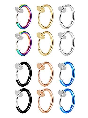12 Stück Falsch Ohrringe Nasen Ohr Lippe Ringe Non-Pierced Ohrringe Hoop Körperschmuck für Männer und Frauen, 6 Farben