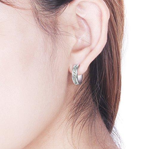 Jstyle Zirkonia Creolen Ohrclips Ohrringe Edelstahl Ohranhänger für Damen 16mm