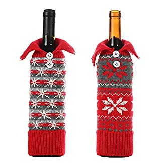 Letway-Weihnachten-Flaschen-Deko-Weihnachtsknopf-Schneeflocke-Wein-Set-Weinflaschenbeutel-Kleidung-Weinflaschenbezug-Set-Party-Restaurant-Weinflasche-Weihnachtsdekoration-Rotwein-Abdeckung-Excellent