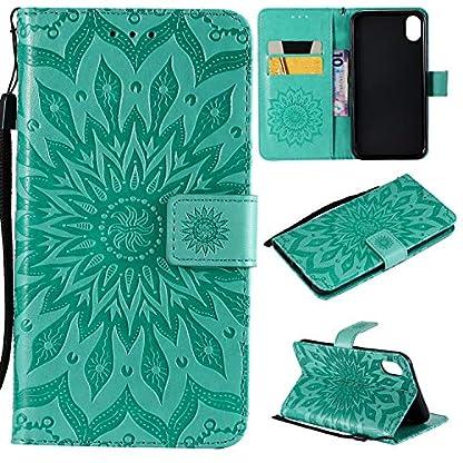 Handyhlle-iPhoneXR-61-Zoll-Case-PU-Leder-Etui-fr-Apple-iPhoneXR-61-Zoll-Mandala-Blumenmuster-mit-Funktionsstnder-S