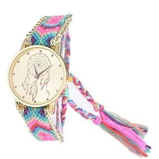 Souarts-Damen-Mehrfarbig-Geflochten-Armbanduhr-Jugendliche-Armreif-Uhr-mit-Batterie-Zifferblatt