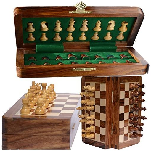 Chess-Bazar-Magnetic-Travel-Pocket-Chess-Set-Staunton-7-X-7-Inch-Folding-Game-Board-Handmade-in-Fine-Rosewood