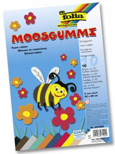 folia 231009 – Moosgummi 20 x 29 cm, 10 Bogen 10 farbig sortiert