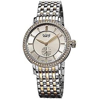 Burgi-Damen-Swiss-Quarz-Diamant-Zifferblatt-silberfarbenes-Necklaces-Halskette-Edelstahl-Armband-Armbanduhr
