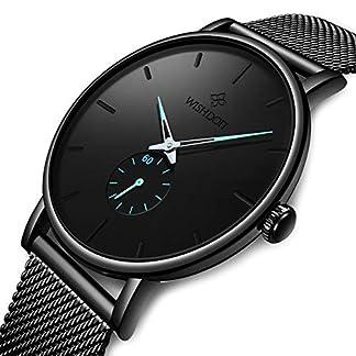 WISHDOIT-Herren-Uhren-Minimalistischen-Wasserdicht-Mnner-Armbanduhr-Mode-Elegant-Geschft-Schwarz-Quarz-Herrenuhr-fr-Mann-mit-Edelstahl-Mesh-Armband