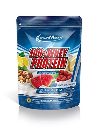 IronMaxx 100% Whey Protein / Whey Proteinpulver auf Wasserbasis / Eiweißpulver mit Weiße Schokolade Geschmack / 1 x 500 g Beutel