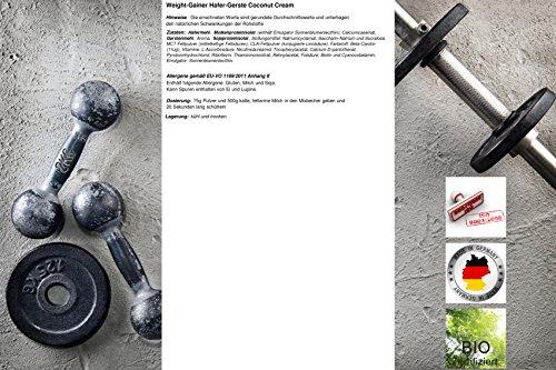 Weight-Gainer Hafer-Gerste Kokos Nuss Cream Hochdosiertes Pulver | Hochwertige Kohlenhydrate Masseaufbau | In Deutscher Premium Qualität | Vegan | Geschmack Coconut Cream 1500g