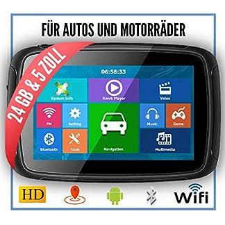 Elebest-Rider-A5-Pro-Navigationsgert-5-Zoll-MotorradPKWBluetoothWasserdichtNeuste-Europa-Karten-sowie-Radarwarner-24GB-SpeicherW-LANInternet