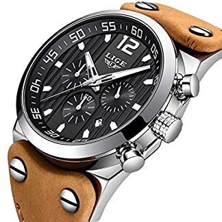 LIGE-Herren-Uhr-Mode-Wasserdichte-Sport-Analoge-Quarzuhr-mit-Militrchronograph-Groes-Zifferblatt-Braune-Lederbanduhr