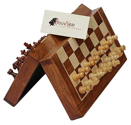 SouvNear-Magnetisches-Schach-Set-267-x-267-cm-zusammenklappbares-Schachbrett-mit-2-Extra-Kniginnen-und-Reisetasche-Premium-Qualitt-Palisander-Schach-Spiel-mit-Integriertem-Speicher