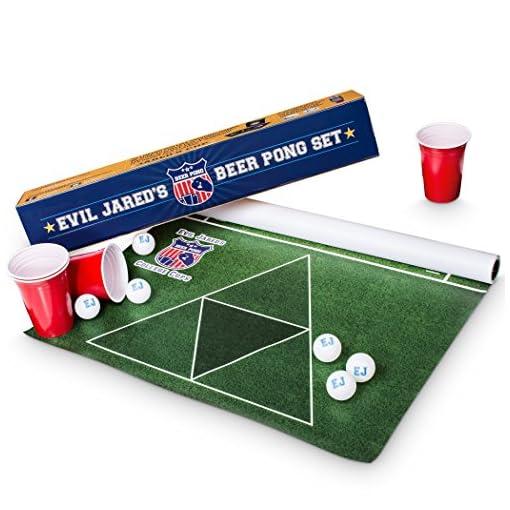 Evil-Jareds-Beer-Pong-Matte-Set-180-x-60-cm-Wasserfest-und-Reifest-Inkl-60-Red-Cups-6-Ping-Pong-Blle-American-Football-Design-Trinkspiel