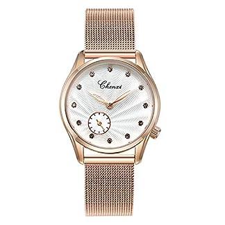 Damen-Armbanduhr-Casual-Fashion-Wasserdicht-Armbanduhr-Armbanduhr-Armbanduhr-Quarz-Gold-Armband-Edelstahl-wei