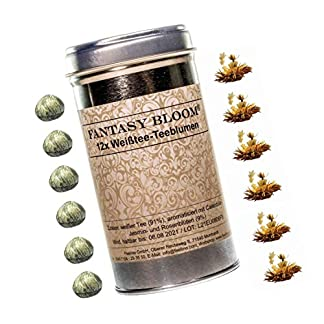 Dosen-mit-12x-PREMIUM-Teeblumen-Teerosen-Fantasy-Bloom-in-sehr-edler-Probier-und-Geschenkdose-mit-BookletBedienungsanleitung-hochwertigster-weier-Erblhtee-mit-echten-Calendula-Jasmin-und-Rosenblten