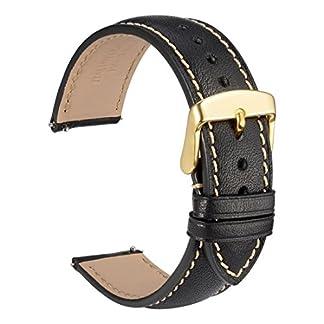 wocci-genarbtem-Leder-Armbanduhr-Band-mit-Gold-Schnalle-Quick-Release-Gurt-Breite-18-mm-20-mm-22-mm