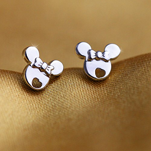 findout Sterling Silber Hohl Mickey Mouse Ohrringe (f1480), Größe; 8 mm x 6 mm