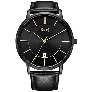 bolisi-Unisex-Alle-Schwarz-minimalistischen-Quarz-Armbanduhr-Ultra-Dnn-mit-Datum-und-Milanaise-Mesh-Band-or-Kalbsleder-Leder-Band