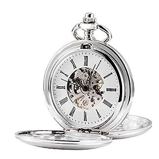 TREEWETO-Unisex-Taschenuhr-mit-Kette-Analog-Handaufzug-Retro-Doppelabdeckungen-Skelett-Silber-Uhrwerk