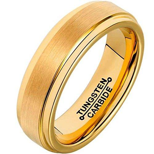 AMDXD Herren Ring Wolfram Stahl (mit Gratis Gravur) Runde 6MM Gold Ehering