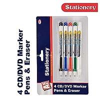 PMS-5er-Packung-CD-DVD-Marker-Stift-und-Radierer-CDs-Kunststoff-Folie-Leder-Glas-Stifte