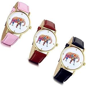 Lancardo-Damen-Herren-Armbanduhr-Fashion-Casual-Elefant-Analog-Quarz-Uhr-mit-Leder-Armband-pink-schwarz-braun
