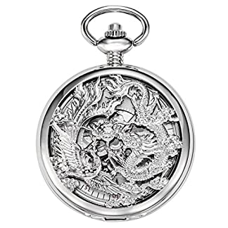 TREEWETO-Retro-Silber-Mechanische-Taschenuhr-Drache-und-Phnix-Gehuse-Design-Skelett-Rmische-Ziffern-Taschenuhren-mit-kette-und-Geschenkbox