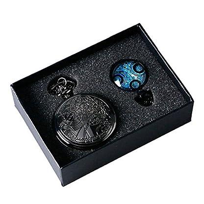 Dr-Who-Mottoparty-schwarz-Effekt-RetroVintage-Fall-Full-Hunter-HerrenJungen-Quarz-Taschenuhr-Halskette-Set–mit-Blau-Gallifrey-Timelord-Dichtung-Anhnger